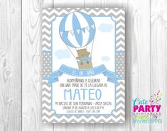 Items similar to Hot Air Balloon Bear ? Hot Air Ballon on Etsy Air Ballon, Hot Air Balloon, Baby Shower Oso, Baby Shower Invitaciones, Baby Shawer, Gift Suggestions, Digital Invitations, Future Baby, Christening