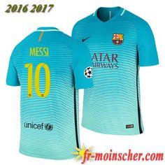 bf6f4ecd898d3b Les Nouveaux Maillot FC Barcelone Barca MESSI 10 Third Bleu 2016 2017   fr-moinscher