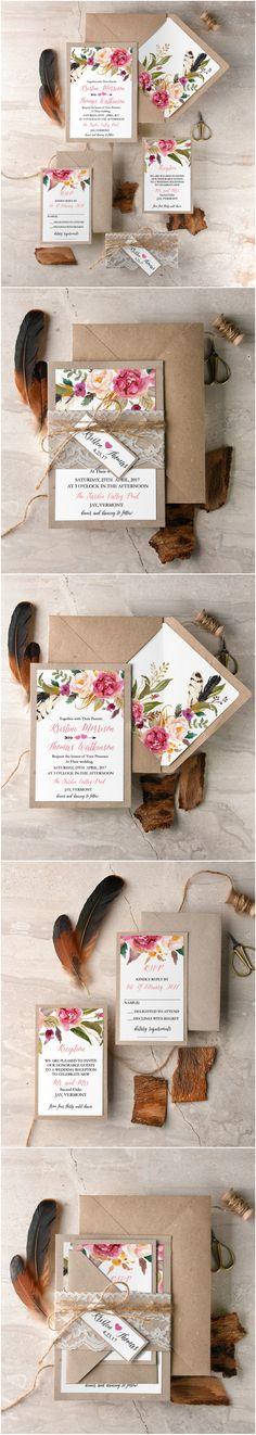 Eco Kraft handmade Wedding Invitations with real lace #boho #floral #flowers #rustic #botanical #handmade #ecofriendly #weddingideas #weddinginvitations