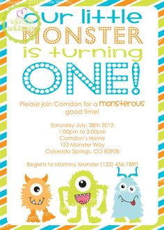Monster Birthday Party Invitation Monsters Party invitations and