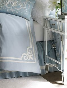 Beautiful Bedding... Melinda, still thinking about this mirrored furniture for Kenna?