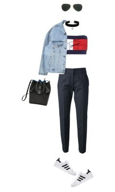 """""""Black.Blue.Red.White"""" by sara-mariaa ❤ liked on Polyvore featuring Tommy Hilfiger, Piazza Sempione, Mansur Gavriel, Ray-Ban and Topshop"""