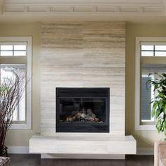 honed limestone fireplace
