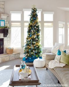 Sita Montgomery Interiors: My 2013 Holiday Home Thin Christmas Tree, Pencil Christmas Tree, Beach Christmas, Coastal Christmas, Rustic Christmas, All Things Christmas, Christmas Home, Xmas Trees, Outdoor Christmas