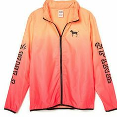 Pink Anorak/Windbreaker Color is orange to pink ombre, it has a hoodie that can be hidden in collar, new. PINK Victoria's Secret Jackets & Coats