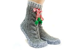 Grey Cable Knit Socks House booties Christmas Gift by aynikki