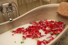 Sophisticated White Red Romantic Bathroom For Valentine's Days With Flower Petals Into It