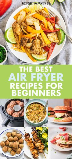 Whether you're brand new to the world of air fryers or a seasoned pro, you will absolutely love this collection of the Best Air Fryer Recipes For Beginners. From main dishes, sides, snacks, breakfasts, desserts, chicken, vegetables and ground beef recipes, every dish included is quick, easy and tastes amazingly delicious. Click through to get these awesome air fryer beginner recipes!! #airfryer #airfryerrecipes #airfryerrecipesforbeginners #easyairfryerrecipes #quickairfryerrecipes Air Fryer Dinner Recipes, Air Fryer Recipes Easy, Easy Dinner Recipes, Appetizer Recipes, Easy Recipes, Easy Meals, Vegetarian Recipes Easy, Lunch Recipes, Beef Recipes
