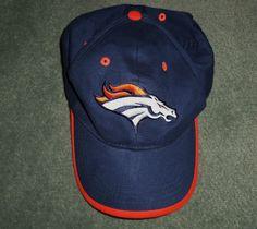 Men's Blue, Orange, White DENVER BRONCOS Embroidered NFL Hat, Velcro Strap, GUC! #NFLMerchandise #DenverBroncos