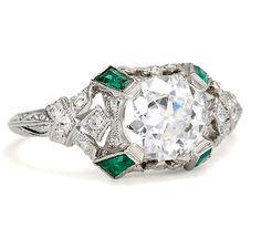 Spectacular 1.10 c. Diamond Emerald Ring - The Three Graces