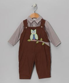 Take a look at this Brown Button-Up & Owl Corduroy Overalls - Infant & Toddler by Petit Ami on today! Owl Clothes, Corduroy, Wetsuit, Button Up, Overalls, Brown, Infant Toddler, Swimwear, Baby