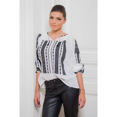 Ie românească How To Make, How To Wear, Black And White, Elegant, Blouse, Color, Tops, Women, Style