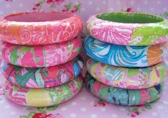 DIY Lilly Pulitzer Handmade Bangles. So easy and cheap to make. Paper and mod podge?