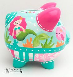 Mermaid Ocean Personalized Piggy bank in Hot Pink and Turquoise Personalized Piggy Bank, Personalized Gifts, Piggy Banks, Baby Coming, Baby Decor, Custom Items, Erika, Pigs, Babys