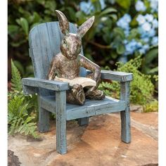 Our Reading Rabbit Garden Statue is a charming garden accent. And we could all learn a lesson from this clever rabbit: take time to relax and enjoy a good bo… Outdoor Garden Statues, Outdoor Gardens, Resin Garden Statues, Garden Totems, Rabbit Garden, Outdoor Chairs, Outdoor Decor, Outdoor Furniture, Garden Inspiration