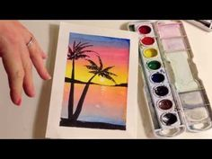 How to paint a sunset with palm trees in watercolor - YouTube