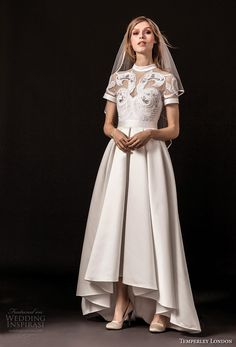 temperley london spring 2018 short sleeves illusion jewel sweetheart neckline heavily embellished romantic a line wedding dress covered lace back sweep train (virginie) mv -- Temperley London Spring 2018 Wedding Dresses