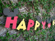 Mickey Mouse birthday banner - love the Mickey ears on the letters!
