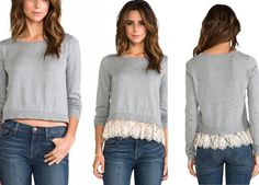 Add some lace and length to an old sweater.