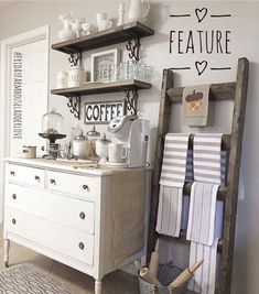farmhouse coffee bar. Love the setup with open shelves and use of an old dresser.