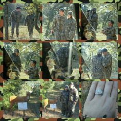 Deer hunting proposal Had a sign on a fake deer in the woods handed her the binoculars to read it, when she turn around he was on one knee with the ring! While a friend hid in a deer stand taking pictures of it all! ADORABLE!
