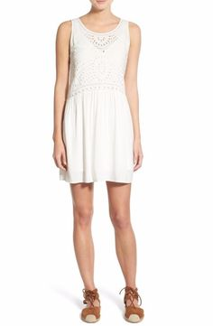 Hinge Embroidered Eyelet A-Line Dress Extra Small Ivory $78 FTC #3858