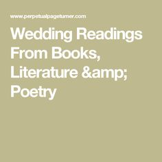 Readings for wedding ceremony from movies