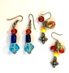 Art Glass Beaded Fashion Jewelry Earrings Multi Colored Dangles Hook Back #Unbranded #Dangle