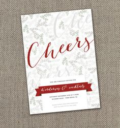 Cheers! Holiday Party Invitation. Red Ribbon Holiday Party Invite! DIY
