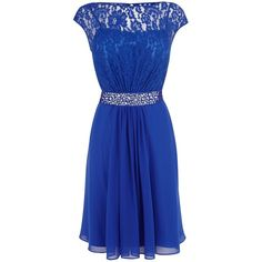 Coast Lori Lee Lace Short Dress (£109) ❤ liked on Polyvore featuring dresses, cobalt, sale, blue cocktail dresses, prom dresses, blue lace dress, holiday dresses and sheer lace dress
