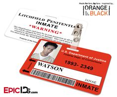 Orange is the New Black Inspired Litchfield Penitentiary Inmate Wearable ID Badge - Watson, Janae