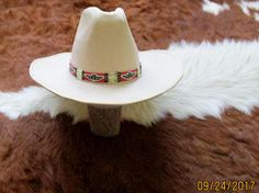 A Cowboy Style Hatband With Quills & Glass Beads.  Handcrafted