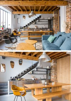 A Cosy Apartment In The Heart Of Montmartre, Paris Loft Design, Tiny House Design, Small Apartments, Small Spaces, Home Interior Design, Interior Architecture, Kitchen Under Stairs, Warehouse Apartment, Cosy Apartment