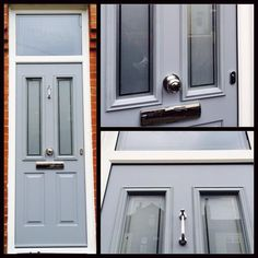 French Grey Solidor - knocker looks a bit thin. I think that's the doctor knocker. Victorian Front Doors, Grey Front Doors, Front Door Porch, Front Door Colors, Front Door Decor, House Front, Front Porches, Victorian House, Garage Door Design
