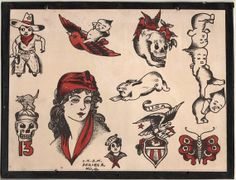 1930's Vintage Percy Waters Tattoo Flash Series A 6 by NavyRays, $24.99