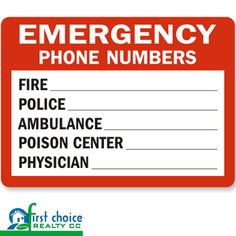 Order your Emergency Phone Numbers Police Fire Sign at the Web's largest source for Fire and Emergency Signs.