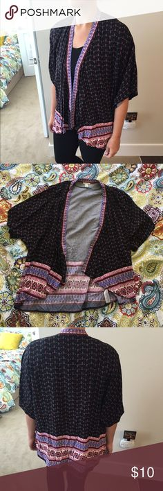 Forever 21 Lightweight 3/4 Sleeve Cardigan Black, blue, and pink. Size small but fits like a medium. 100% rayon. Loose fitting. No buttons and stays open. Great cover up. Worn and washed a couple of times. No trades please! Forever 21 Tops