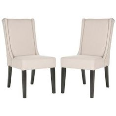 Safavieh Sher Taupe/Espresso Linen Side Chair (Set Of 2)