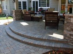 Brilliant Stone Decks And Patios Designs Interlocking Paver Patio Under Deck Love The Gently Curving Long