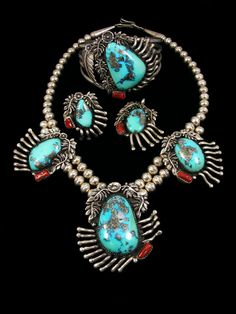 Hand Crafted Old Indian Jewelry Sterling Silver Turquoise & Coral Matching Set 1980's