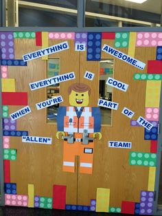 Everything is awesome! Every thing is cool when you are part of God's team! Lego Classroom Theme, Superhero Classroom, Classroom Door, Preschool Classroom, Kindergarten, Classroom Ideas, Class Displays, Classroom Displays, Classroom Organization