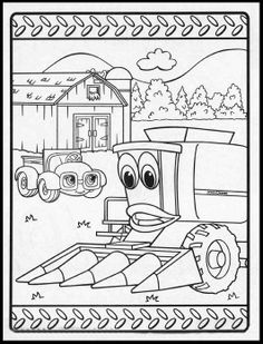 tractor coloring pages johnny tractor and friends john deere coloring pages for kids - John Deere Combine Coloring Pages