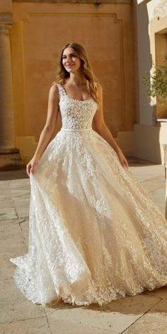 Princess Wedding Dresses, Boho Wedding Dress, Dream Wedding Dresses, Spring Wedding Dresses, Wedding Bride, Square Wedding Dress, Short Wedding Gowns, Princess Gowns, Most Beautiful Wedding Dresses
