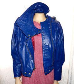 vintage leather jacket eletric argentina medium M 9 10 1980's retro #Comint #Party