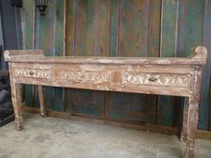 Balinese Recycled Teak Furniture Console Sideboard TV Hand Carved White Wash