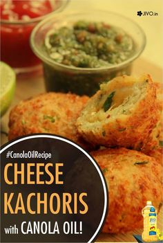 #CanolaOil  Cheese Kachoris with Canola Oil  Ingredients ⅔ cup of Grated cheese ⅔ cup,Maida ¼ cup, Fine chopped onions: Chilly flakes: 1tsp, Baking Powder: 2-3 pinches Fine chopped coriander leaves: 1tbsp, Thick yogurt: ¼ cup, Italian seasoning: 1tsp, Salt, Canola Oil for deep frying  For Stuffing: Grated cheese: ¼ cup, Cream cheese: 1 tbsp