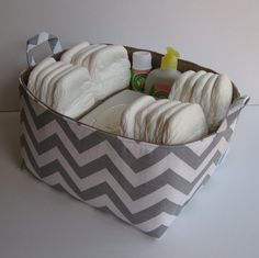 Diaper Caddy - Storage Container Organizer Bin Basket - Large Size - with Dividers - Ash Gray and White Slub Chevron Fabric ( Etsy ID: BaffinBags)