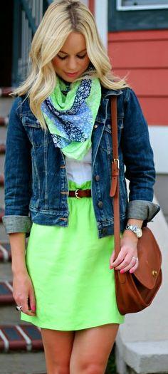 Green skirt + white Oxford + patterned scarf + denim jacket