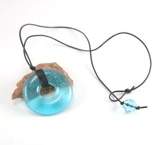 Fused glass aqua blue donut ring necklace metal free by PannaKotta, $30.00 #etsy