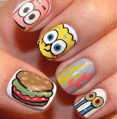 (spongebob,spongebob squarepants,patrick star,nails,nail polish) Drumright-kuk My daughter loves this. Love Nails, How To Do Nails, Fun Nails, Pretty Nails, Crazy Nails, Pineapple Under The Sea, Creative Nails, Nail Arts, Manicures